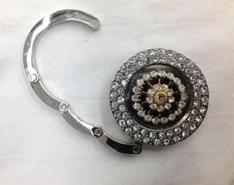Vintage rhinestone white metal purse hanger