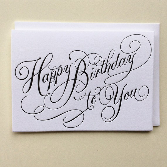Happy birthday to you single letterpress card
