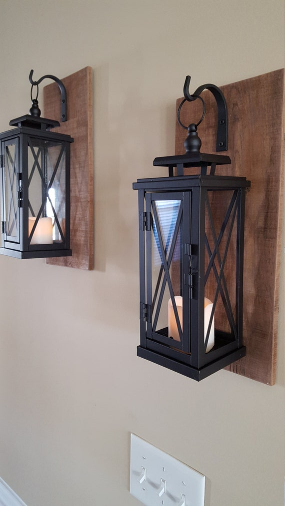 Set of 2 MEDIUM Rustic Wall Mounted Lantern by PlushBrentwood