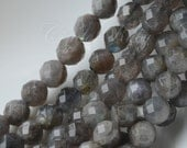 Micro Faceted Labradorite Round Beads,Gray Gemstones with Blue Hue, 7.5-8 mm