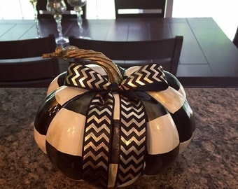 Black and White Check Pumpkin with Bow
