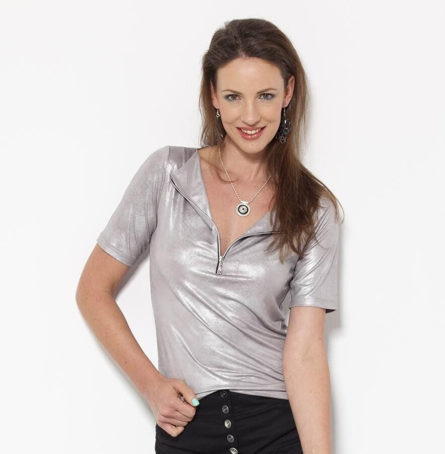 Silver shirt sexy tops vegan leather v neck blouse evening for Silver metallic shirt women s