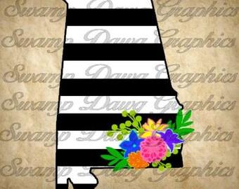 Alabama Svg, Alabama floral svg, alabama stripped floral svg, alabama silhouette svg, silhouette, cricut, digital file, floral svg, cut file