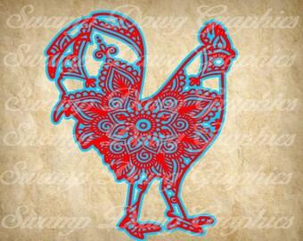 Chicken svg, Mandala chicken svg, chicken cut file, mandala chicken cut file, silhouette, cricut, decal, vinyl, svg file, rustic svg, rustic