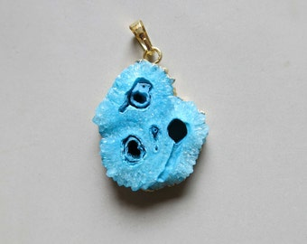 Geode Slice Pendant with Electroplating Gold Edge - C4189