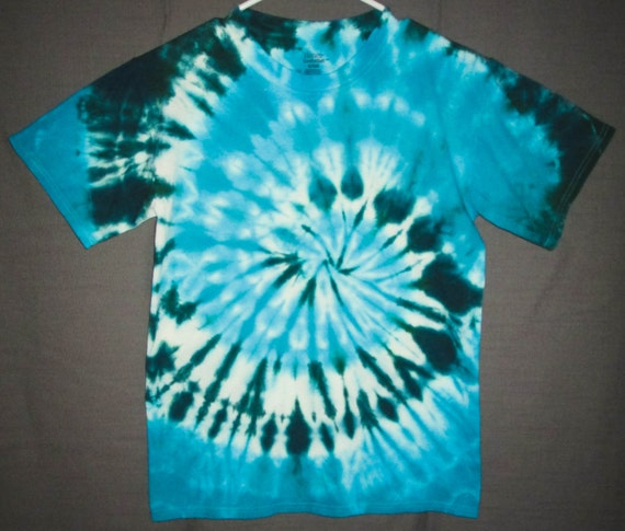 Hand Dyed Blue & Green Swirl Adult Tie Dye