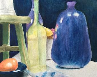 Original Art, Still Life Study, watercolor, vases and fruit