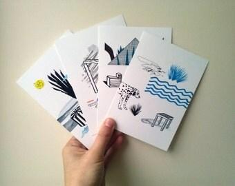 A set of 4 postcards