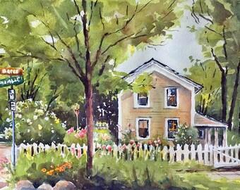 "House Nicollet Island Minneapolis street scene 10 x 14"""