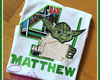 Personalized Yoda Star Wars Theme Birthday Party Shirt