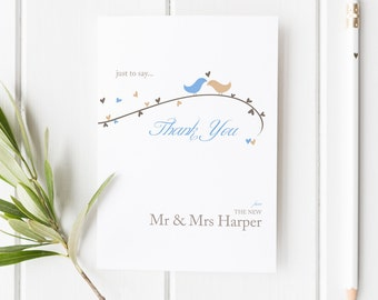 Dorethy // Love Birds and Hearts Wedding Thank You Card // Duckegg Blue and Beige // DIY Printable File // Digital PDF File