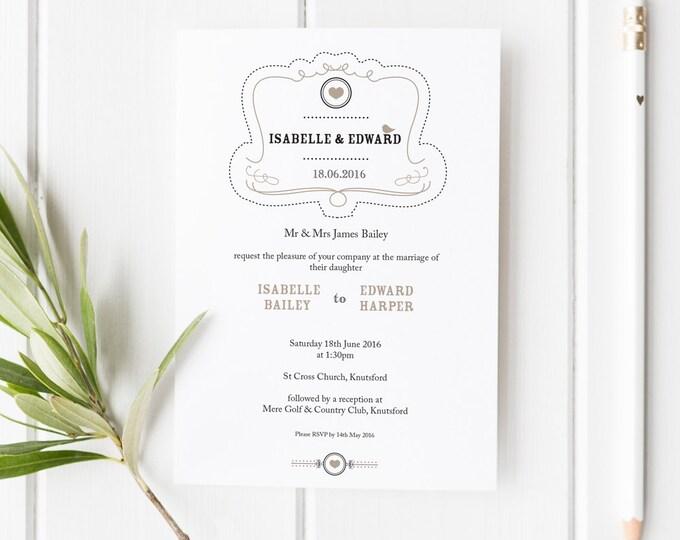 Featured listing image: Elsie // Rustic Wedding Invitation // Black White and Beige // DIY Printable File // Digital PDF File