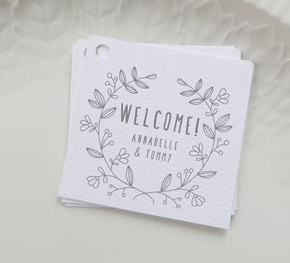 Wedding Favor Bag Labels : Welcome Bag Tag, Gray Wedding Favor Label, Personalized Gift Tags ...