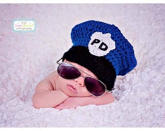 Newborn Police Officer Hat - Newborn Photo Prop - Baby Photo Prop - Cop Photo Prop - Newborn Prop - Police Officer Prop