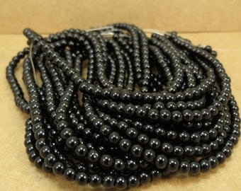 Black Obsidian Beads, Natural 4mm Round Beads, 16 inch Strand, 4mm Black Beads, Beading Supplies, Item 686pm