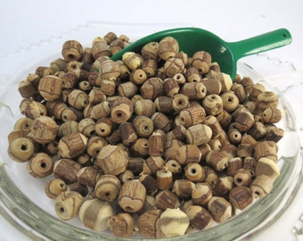 Wood Beads, Natural Mix Barrel Beads with Bark, 250 Round/Tube Barrel Beads, Jewelry Supplies, Item 987wb