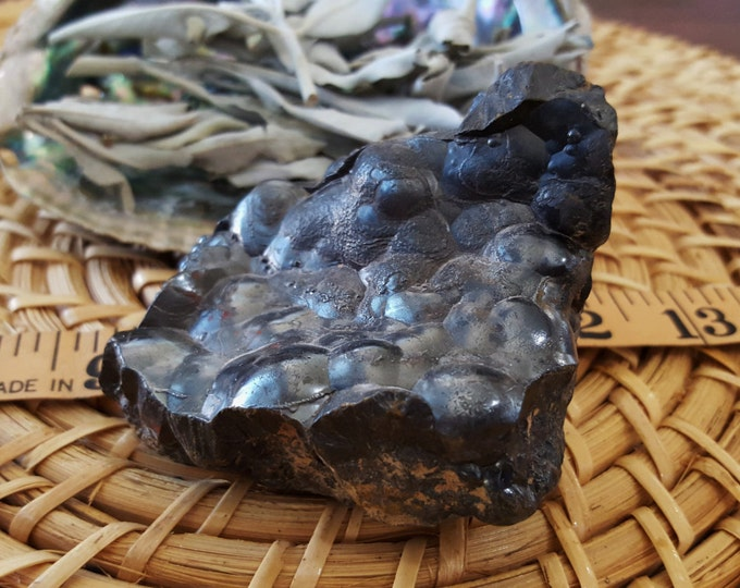 Botryoidal (Bubble) Hematite ~ 1 rough Reiki infused crystal approx 84x70x44mm (E03)