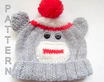 Knitting Pattern - Sock Monkey Beanie, Baby Beanie, Hat, Baby Hat, Monkey