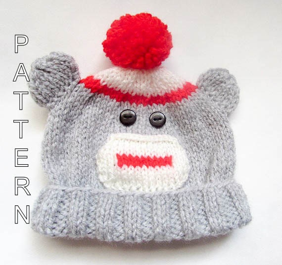 Sock Monkey Hat Knitting Pattern : Knitting Pattern Sock Monkey Beanie Baby by WistfullyWoolen