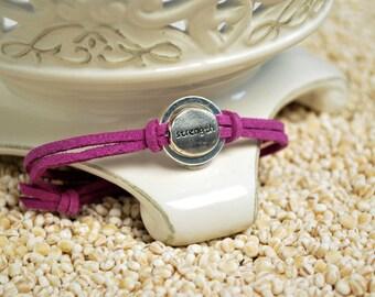 STRENGTH Bracelet,  Inspirational word bracelet - metal affirmation ring with inspirational word charm on cord bracelt
