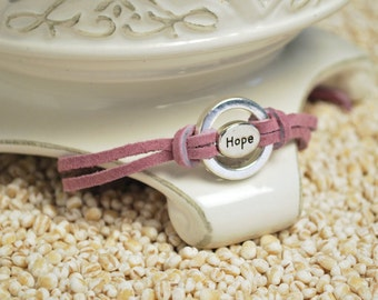 HOPE Bracelet - Inspirational word charm and affirmation ring on leather cord bracelet