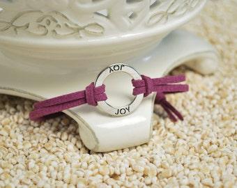 JOY Bracelet - Inspirational word bracelet - metal affirmation ring with inspirational saying on cord bracelet