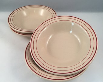 Sterling Vitrified Restaurant Style Bowls with Triple Stripes, Set of 4, Soup, Salad, Cereal Size, Made in USA