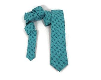 Arrow tie, turquoise necktie, narrow tie, aquamarine arrows, robin's egg blue, turquoise arrow necktie
