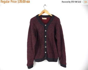 LAST CALL 90s LL Bean Norwegian Wool Sweater - Men, Women - Charcoal Grey / Gray with Red Flecks - Metal Snowflake Buttons - Medium, Large