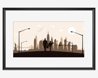 New York Skyline, New York, New York art, New York poster, The Professional inspired art, Leon The Professional, The Professional  print