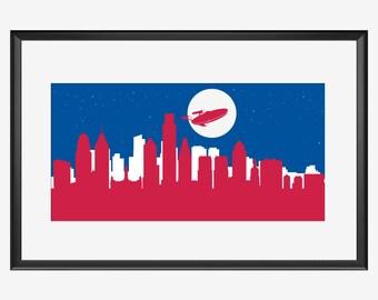 Philadelphia Skyline print, Spaceship, Star Trek inspired, enterprise art poster, Philladelphia Pennsylvania art, Philladelphia print poster