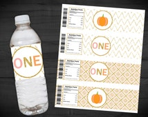 Pumpkin Birthday Water Bottle Labels - Our Little Pumpkin is Turning ONE - Pink - Gold Glitter - First Birthday - Chevron - 2 x 8 Inches