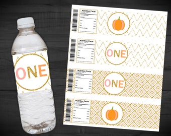Pumpkin Birthday Water Bottle Labels - Our Little Pumpkin is Turning ONE - Pink - Gold Glitter - First Birthday - Chevron - 2 x 8 Inches