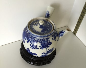 Asian Blue & White Teapot with Strainer