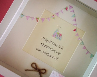Personalised Christening Picture, Gift, Shabby Chic, Rustic, Christening Gift Girl, Goddaughter, Daughter Gift