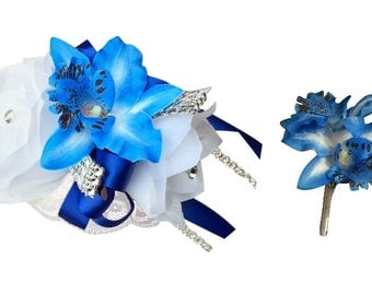 2pc Set - White and Royal Blue Wrist Corsage and Boutonniere with Orchids (BCSET-10)