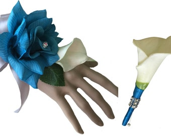 2pc Set - Turquoise Rose with Calla Lily Wrist Corsage and Boutonniere (BCset-43)