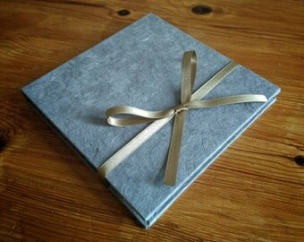 DVD Case in Grey and Gold, CD Holder, DVD packaging, Grey, choice of ribbon.