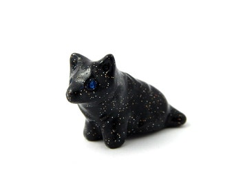 Starry Blue-Eyed Black Wolf Cub, Miniature Hand-Sculpted Figurine Polymer Clay