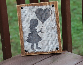 Girl with a Balloon Burlap Print on Planked Wood