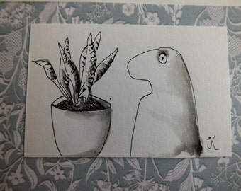 Set of 5 handdrawn greetingcards, set. nr 3. Inkdrawing, inkpaiting, art, Original drawing, Whimsical