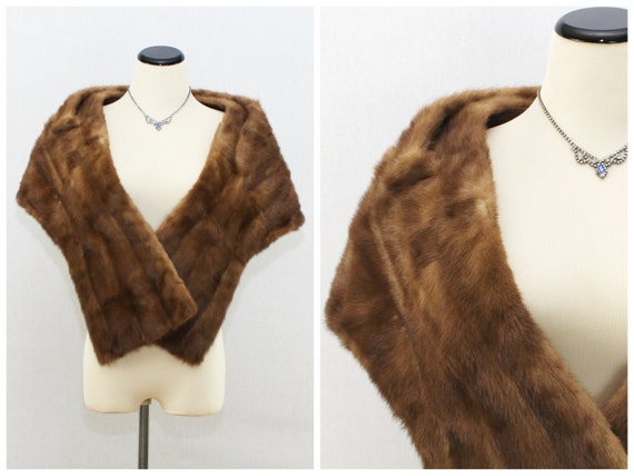 Brown Mink Wrap - 60s Formal Coat - Vintage 1960s Short Mink Stole