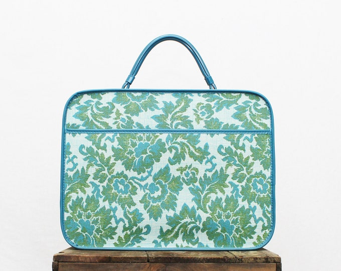 Turquoise Floral Weekender Bag - Vintage 1960s Luggage - Small Suitcase