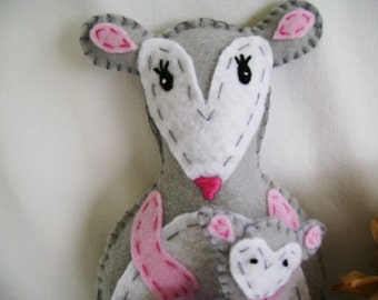 Opossum Stuffed Animal, Felt Stuffed Possum Animal, Mom and Baby Opossum, Hand Made Opossum Toy