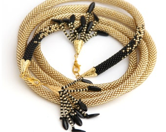 Crochet bead rope gold and black beaded lariat, long necklace.Long transformer necklace.Made to order.