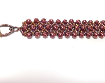 Brown pearl and seed bead woven bracelet