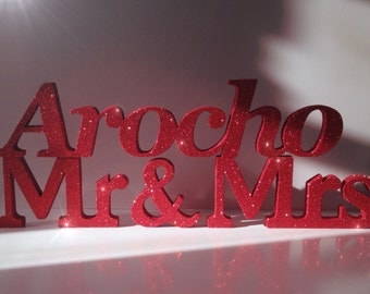 Freestanding Mr & Mrs Surname in glitter finish. Wedding sweetheart table decoration. Top table decoration. Personalised wedding table sign