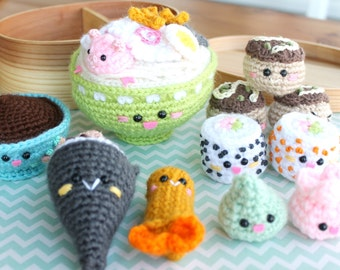 Amigurumi Food Bento Family II Crochet Pattern/ Sushi Set