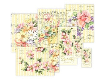 Shabby chic yellow floral printable tickets and cards / vintage digital collage sheet / instant download / embellishments / filler cards