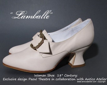 "Mod.731_70P ""Lamballe"" IVORY 18 century shoes - - 18 th.- scarpa settecento donna AVORIO mod. Lamballe, Marie Antoinette style shoes"